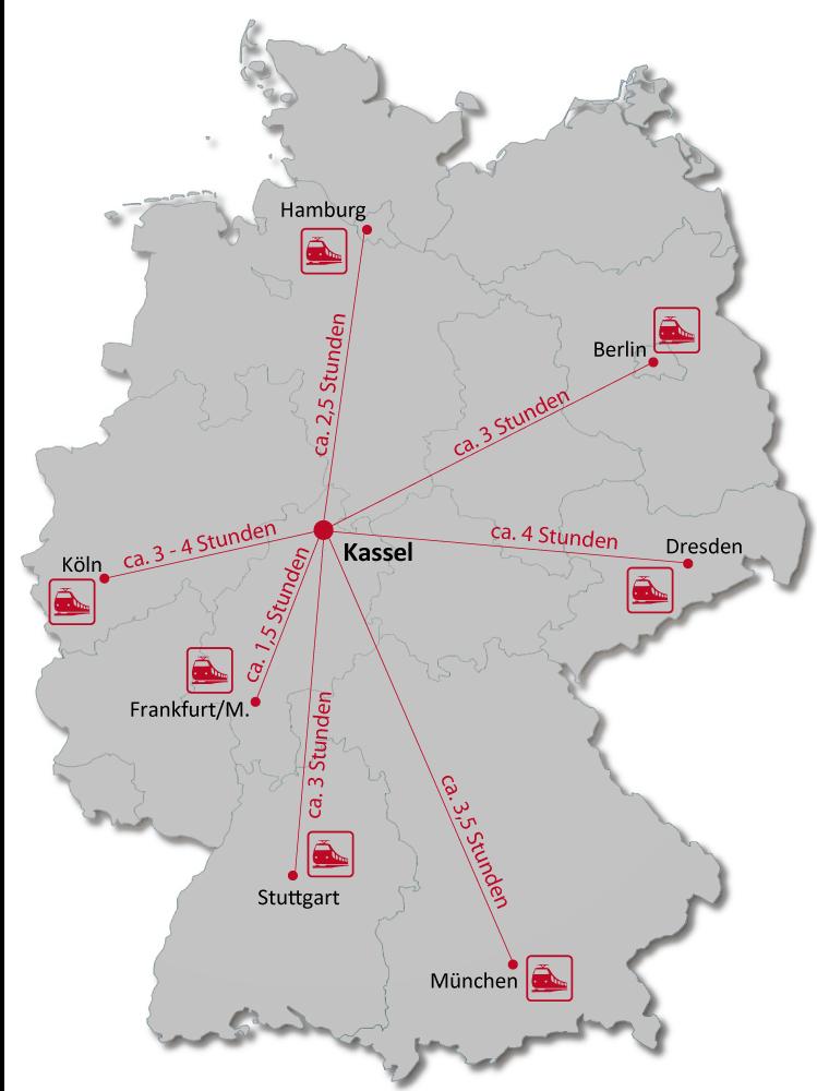 Dauer der Anreise nach Kassel mit der Bahn